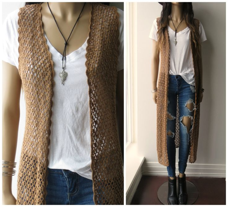 CROCHET open weave Knit Long Duster Hippie Boho sleeveless Cardigan Sweater S/M