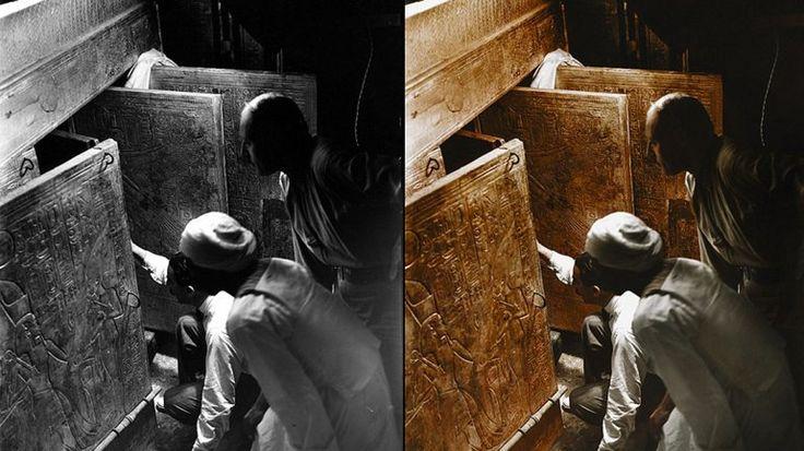 El hallazgo de la tumba de Tutankamón, por primera vez a color   Tutankamon, Egipto - América