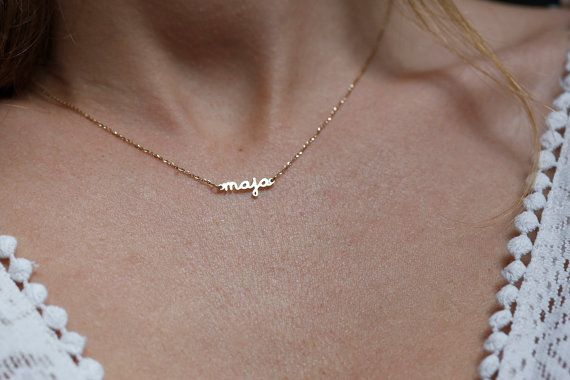 Extra Tiny Name Necklace 14k GOLD Necklace Solid Gold by capucinne