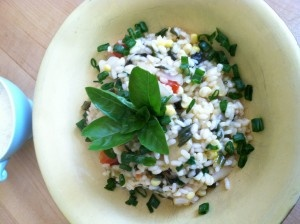 Corn, Tomato and Basil Summer Risotto (Photo by Kathy Gunst) Made this ...