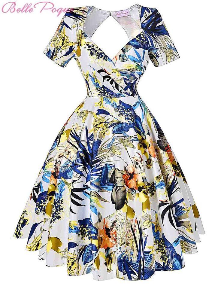 Short Sleeve Floral Print 50s Vintage Dresses Retro Swing Pinup Dance Dress Plus Size Rockabilly Dress BP000028 Alternative Measures - Brides & Bridesmaids - Wedding, Bridal, Prom, Formal Gown - Alternative Measures - 1 / S - 4
