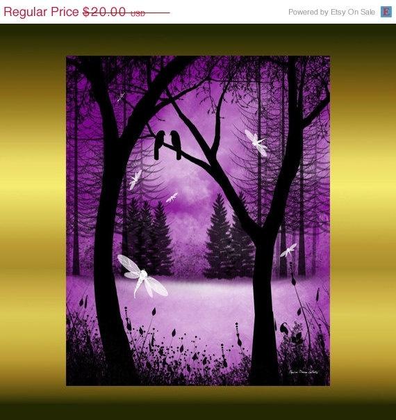 Fantasy Tree Art  Print  8 x 10 by Rustic Goth.: Trees Art, Treeart, Fantasy Forests, Art Prints, Purple Passion, Things Purple, Dragon Flying, Purple Haze, Dragonfly