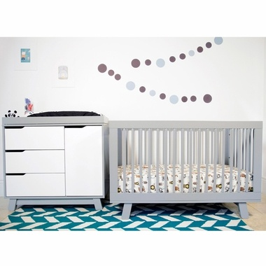 Marvelous Babyletto 2 Piece Nursery Set   Hudson 3 In 1 Convertible Crib And Hudson  Changer Dresser In Two Tone Grey And White