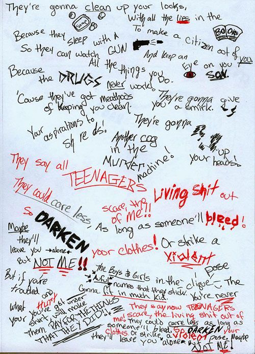 Handwritten lyrics of Teenagers by My Chemical Romance