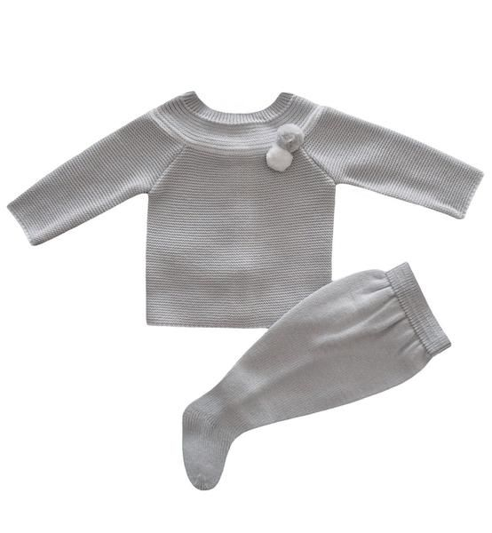 Spanish baby clothes | baby knitted sets | Pale grey Knitted set |babymaC  - 1
