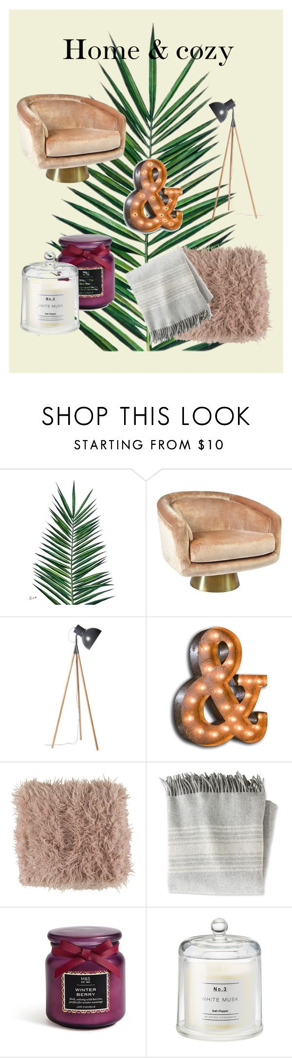 """""""Home & cozy"""" by clara-schmidt on Polyvore featuring interior, interiors, interior design, home, home decor, interior decorating, Nika, Jonathan Adler, Vintage Marquee Lights and Surya"""