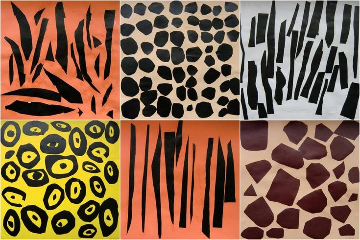 VZORY ZVÍŘAT -vypozorovat tvary tvořící vzor zvířat, ty přenést na lepící papír, vystřihnout a lepit na tónovaný podklad – vytvoření zvětšeniny vzoru srsti (papírová koláž)
