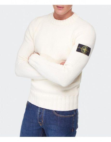 men's crew neck white wool sweaters | Stone Island Crew Neck Sweater in White for Men (cream)