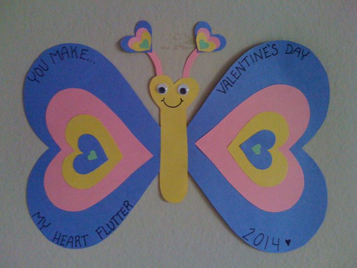 Valentine craft for kids, easy preschool valentine's day craft, valentine butterfly craft made from construction paper and google eyes, that's it. cute and easy.