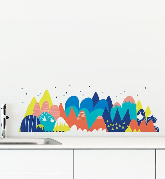 Hey, I found this really awesome Etsy listing at https://www.etsy.com/listing/227218191/melting-mountain-removable-wall-sticker