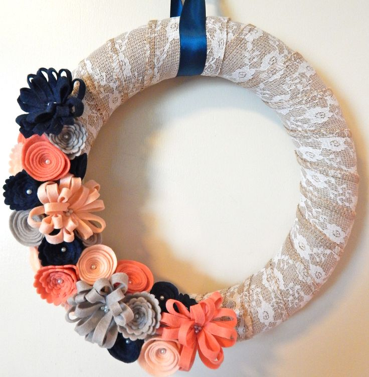 Shabby Chic Wreath - Shabby Chic home decor - lace burlap wreath - spring door…