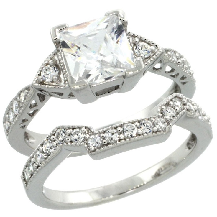 Sterling Silver Vintage Style Square Engagement Ring Set W Princess Mm Brilliant Cut Cz Stones In