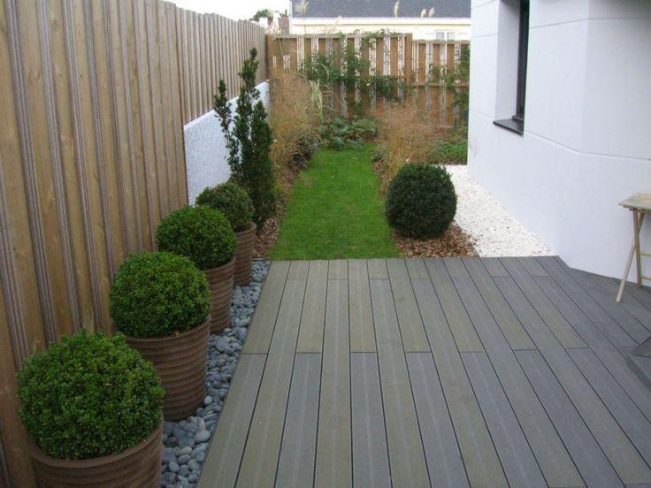 Créa paysage, terrasse en bois composite avec plantation en ...