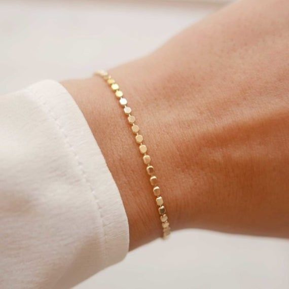 Gold Chain Bracelet,Link Chain Gift for Her,Dainty Bracelet,Layering Bracelet,Gift for Mom,Stacking Bracelet 24 K Gold  Plated Bracelet
