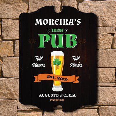 Home Wet Bar Irish Pub Custom Wood Sign Wall Décor Size: Medium