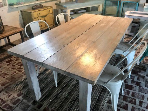 White Wash Farmhouse Table With Metal Chairs Rustic Wooden Etsy In 2020 Rustic Dining Room Farmhouse Table Farmhouse Style Chairs