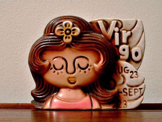 Vintage Bank Girl Virgo Astrology Vintage 1970's Piggy Bank Flower Child