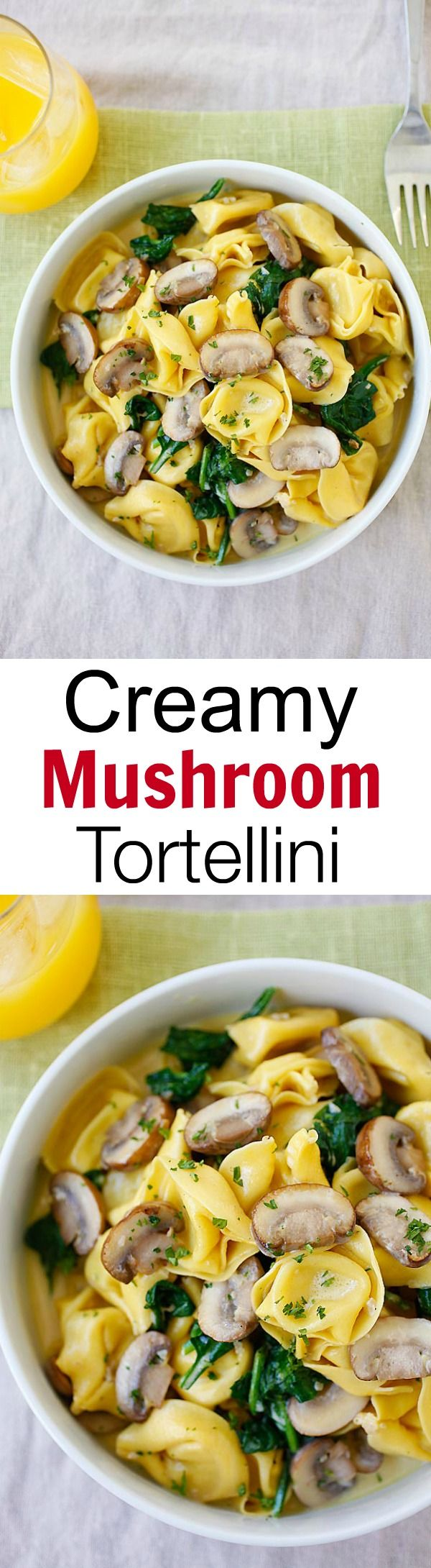 Creamy Mushroom Tortellini – the creamiest and most delicious tortellini recipe with rich buttery mushroom sauce. Quick, easy and budget-friendly!! | rasamalaysia.com