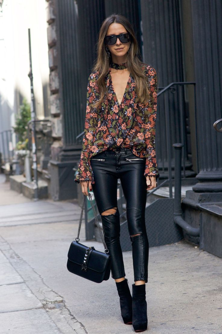 faux leather pants, floral top, christian louboutin shoes