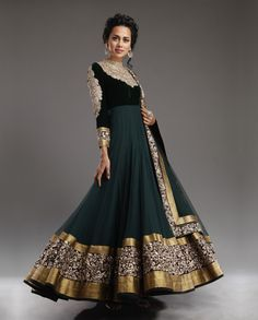 Exclusive pick from our wedding shop! Gorgeous green anarkali. Love the colors! and the design is gorgeous!