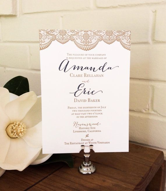 Calligraphy Letterpress Wedding Invitation Suite - Navy and Gold with Lace