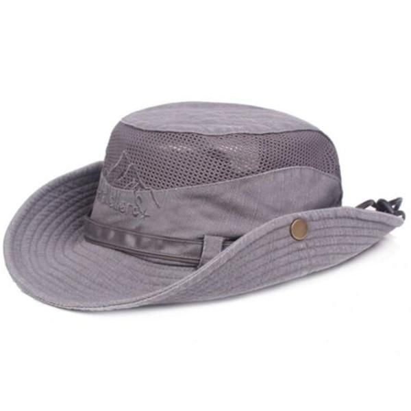 ac5f580f5c6ad Embroidery Visor Bucket Hat Fisherman Hat Outdoor Mesh Sunshade Cap ...
