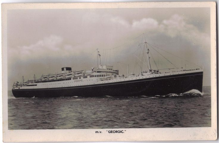 Cunard-White Star. M.V. Georgic postcard. Circa 1950's. M.V. Georgic was launched in 1931 at Harland and Wolff (Belfast, Ireland) and M.V. Georgic was the final ocean liner built for the White Star Line. M.V. Georgic was scrapped in 1956.