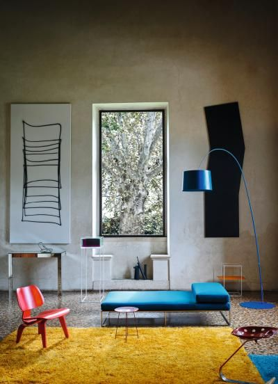 The iconic Twiggy lamp, designed by Sadler for Foscarini in 2006, has gotten a new life in an extra large version, plus new colors for the original size. The fishing pole-style lamp, equipped with a 33W, 3000K LED, is now available in Crimson, Indigo Blue, Greige, Black and White. The extra large size, standing about 110 inches tall, is a great solution for bigger spaces with high ceilings. Photo by Andrea Ferrari. www.foscarini.com