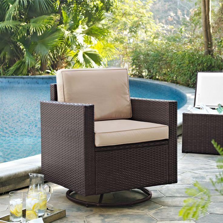 Crosley Palm Harbor Outdoor Swivel Rocker Chair With Sand Cushions