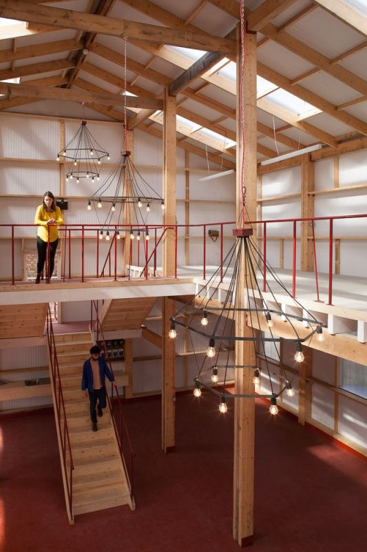 Yardhouse - Assemble. Really simple £80,000 250sqm studio space, built with laminated timber columns and beams - could be adapted as a building method for pretty much anything!