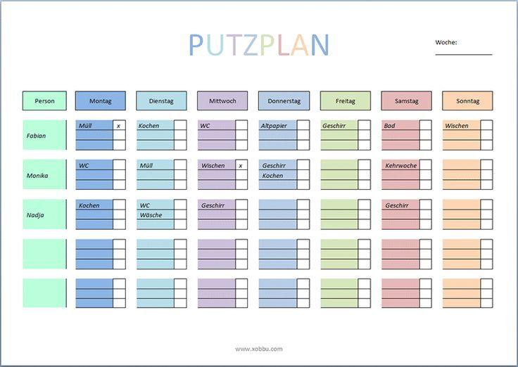 Cleaning Plan For Printing Pdf Word Putzplan Haushalts Ordner Planer