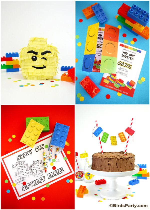 Lego Inspired Birthday Party Ideas and Printables - BirdsParty.com