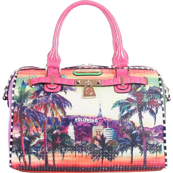 Nicole Lee Hollywood Hologram Print Boston Bag Satchel ($90) ❤ liked on Polyvore featuring bags, handbags, manmade handbags, orange, purse satchel, orange handbags, man bag, orange purse and nicole lee purses