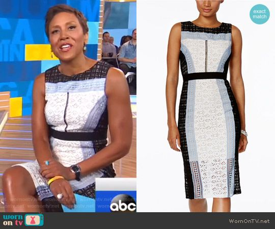 Robin's mixed lace sleeveless dress on Good Morning America.  Outfit Details: https://wornontv.net/72160/ #GoodMorningAmerica