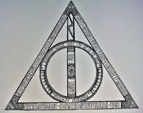 Deathly Hallows made of spells (Would be awesome to try wood burning)Tattoo Ideas, Awesome Tattoo, The Artists, Death Hallows, Harrypotter, Tattoo Quotes Hp, A Tattoo, Deathly Hallows, Harry Potter Tattoo