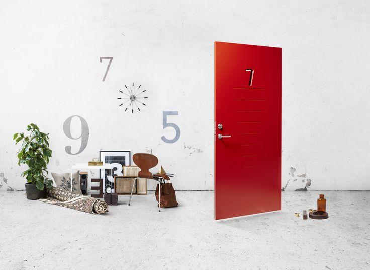 JELD-WEN-ulko-ovi Character Digits punainen