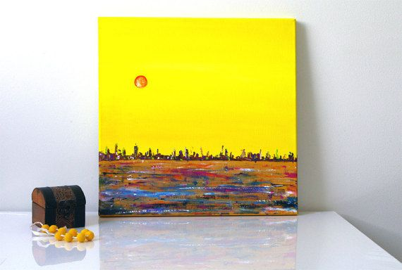 Yellow canvas paintings on canvas Original painting by artbyasta