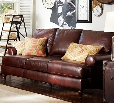 Austin Leather Sofa #potterybarn Want 2 Of These For My Living Room! Too  Dark