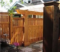 craftsman style fences and gates | Magestic garden gate and solid pillars blend in with the style and ...
