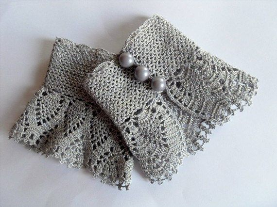 Crochet Gloves Victorian Gloves Gray Lace by SmilingKnitting, $22.00-this pretty shop is on the front page treasury rt now!