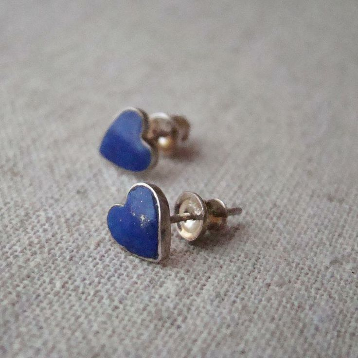 Kolczyki serduszka. Srebro i lapis lazuli. Wyjątkowo urocze, prawda? :)