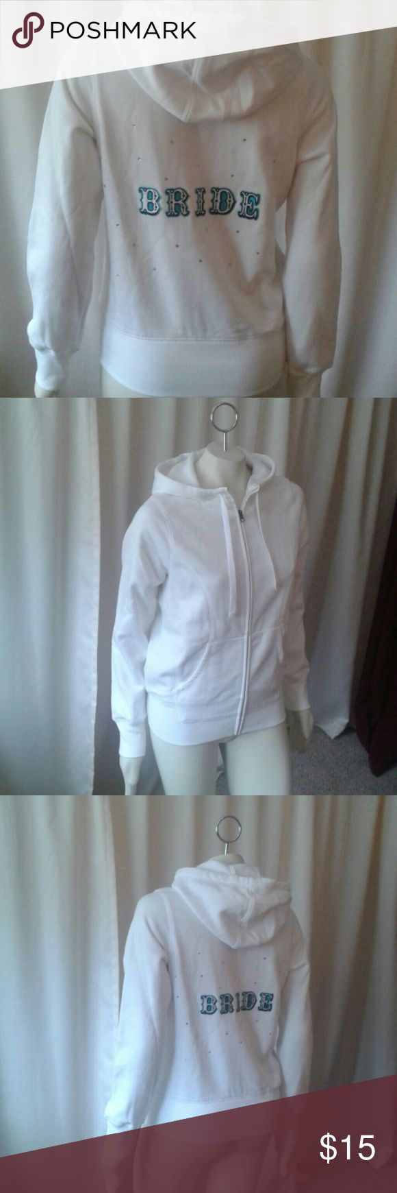 """Bride"" zip up hoodie White, zip up hoodie with ""Tiffany blue"" letters spelling BRIDE and silver/clear  gemstones Front pockets and drawstring hood.  Never worn, great condition!! Tops Sweatshirts & Hoodies"