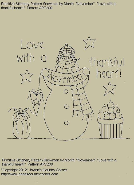 """Primitive Stitchery E-Pattern Snowman by Month """"November"""",  """"Love with a thankful heart."""""""