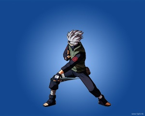 Free Kakashi Hatake PPT Template with blue background color