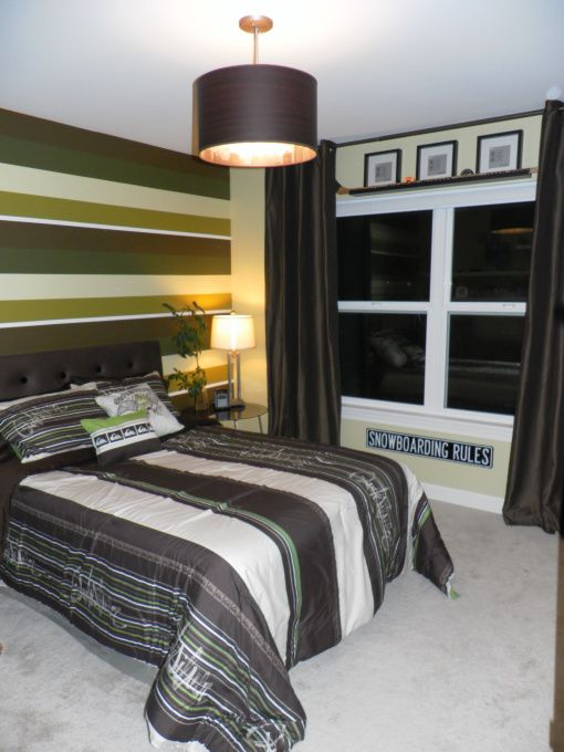Green   Brown Teen Boy Room   Boys  Room Designs   Decorating Ideas   HGTV Rate  My Space Like the stripes. 35 best Jr s room ideas images on Pinterest   Bedroom ideas  Kids
