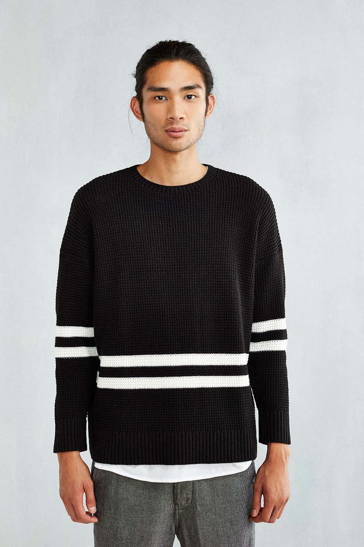Feathers Striped Waffle Sweater