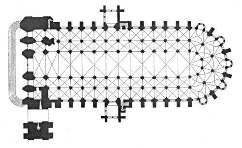 :: Planta de catedral de Bourges. (1195-1214), con cinco naves que se escalonan en altura hasta la nave central y cubierta con bóveda sexpartita.