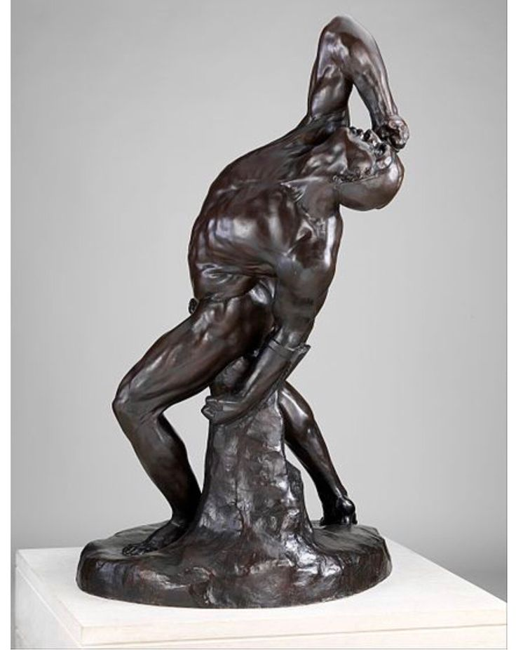 """William Rimmer: """"The Falling Gladiator"""", 1861; cast 1907, Bronze, Dimensions: 63 x 41 x 38 1/8 in. (160 x 104.1 x 96.8 cm), Current location: Metropolitan Museum of Art; New York City, United States of America."""