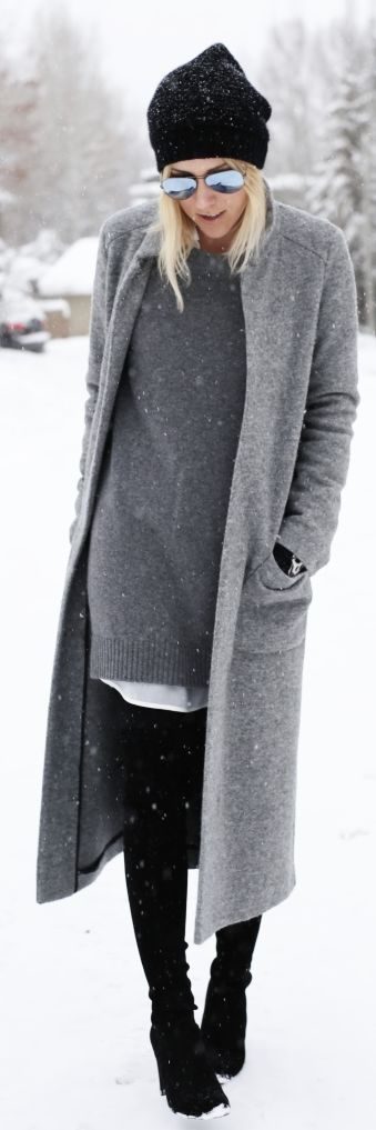 I love this street style outfit, grey coat + black beanie. Let us captivate your senses at Lou Lou & Percy with our luxurious on trend affordable fashion jewellery. www.loulouandpercy.com