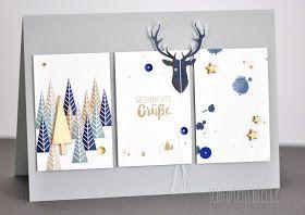 Heute geht es aber ganz schnell weiter mit den Weihnachtskarten. Alle mit dem tollen Papier was ich bei Alexandra Renke in Frankfurt auf d...